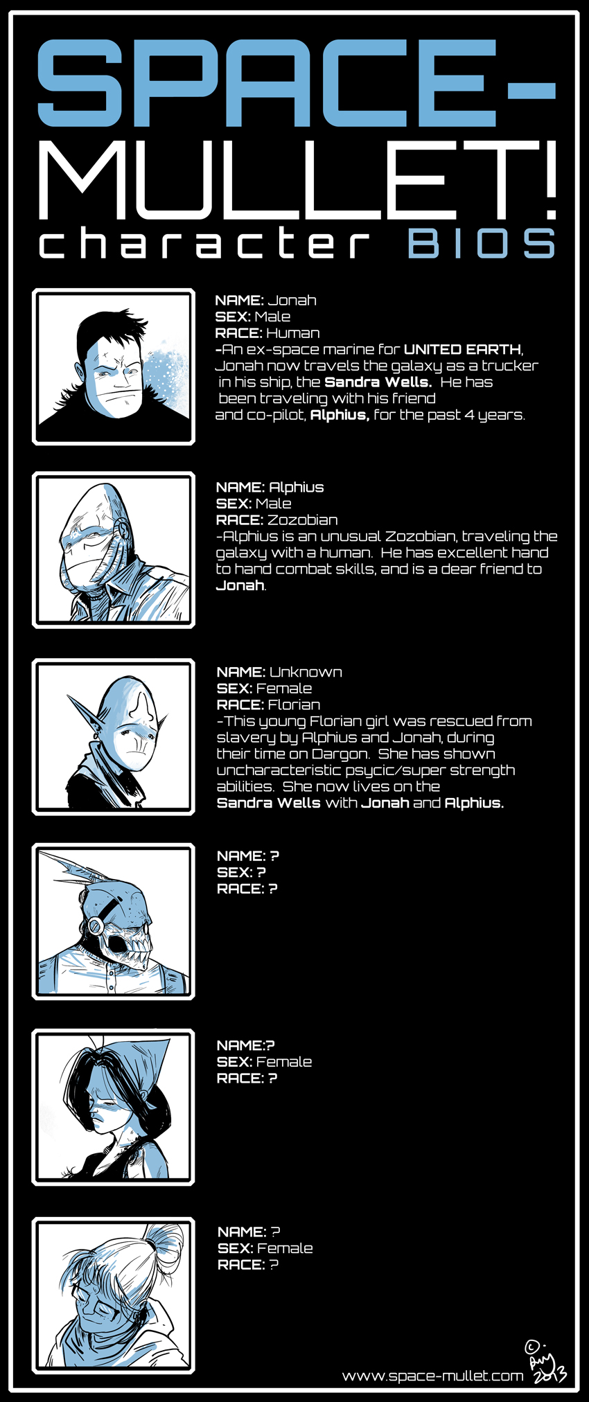 character bios space mullet